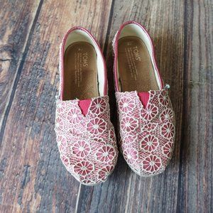 Toms pink glitter floral flats sparkly 6.5